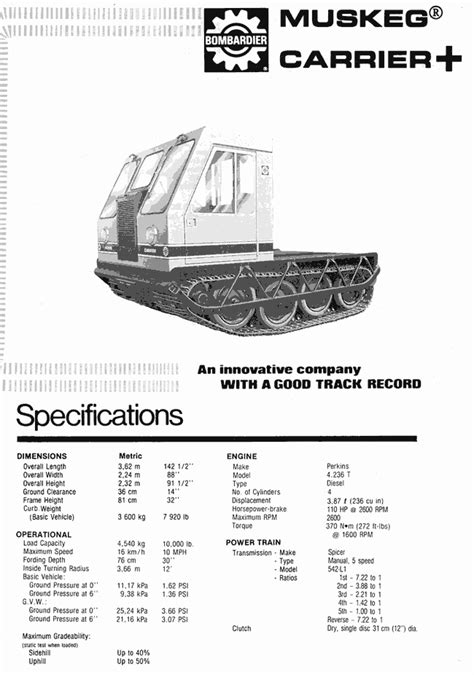 bombardier mmuskeg carrier vehicle specsheets  safety  training