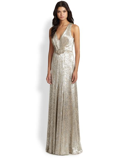 silver beaded gown david meister beaded metallic gown in silver silver taupe