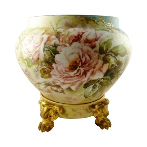 Jardiniere Vase by Limoges Jardiniere Vase Planter Stand Painted With