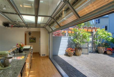 glass garage door style windows door in the kitchen