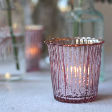pink glass tea light holders ribbed mercury glass tea light holder blush pink the