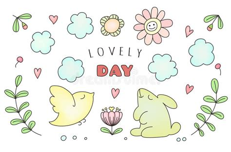 doodle animals vector free doodle animals sun and cloud flowers