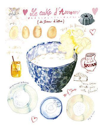 cake recipe poster 8x10 kitchen print food painting blue watercolor home decor