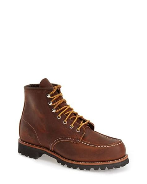 Sepatu Tough Brown Pull Up Leather Boots wing roughneck boot in brown for copper