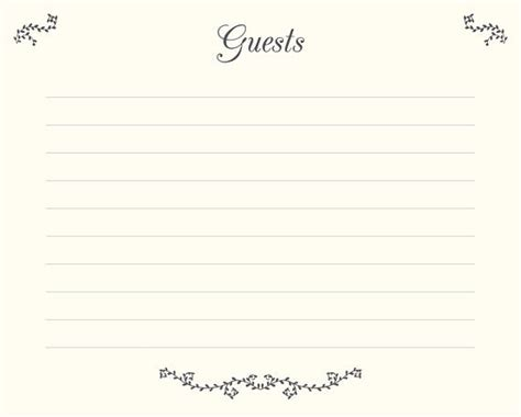 wedding guest book pages printable file guests template