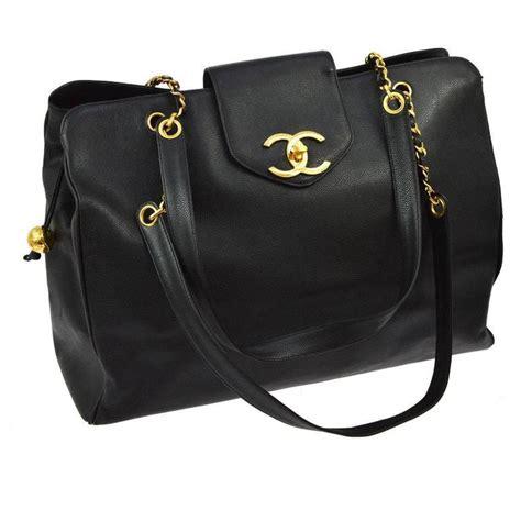 black leather weekender bag chanel vintage black leather gold large shopper travel weekender tote bag for sale at 1stdibs