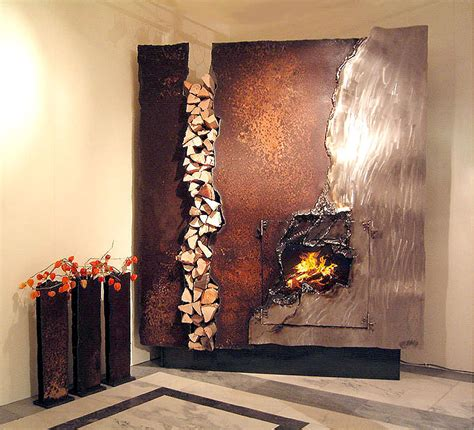 Unique Fireplaces | fireplace mantels and fire sculptures from metal artist gahr