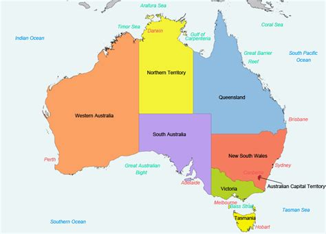 map of australia with states and territories states and territories of australia south australian