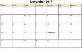 Calendar November 2017 Thanksgiving November 2017 Calendar Thanksgiving Printable Template