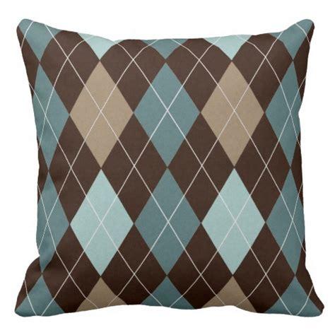 Blue And Brown Throw Pillows Modern Brown And Blue Argyle Throw Pillow Cushion Zazzle