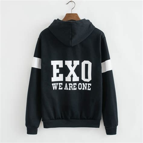 Zipper Hoodie Sweater Exo Kpop kpop exo hoodies kpop clothes luhan sweatshirts baseball jacket zipper print