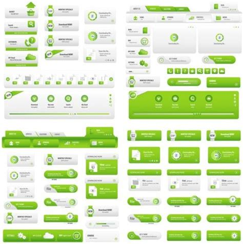 Green Website Template With Button Vector Free Download Button Website Template