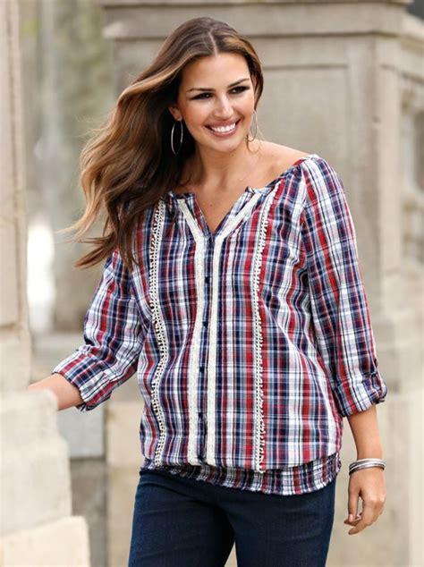 imagenes de blusas vaqueras blusa mujer manga larga jaretas y encaje cuadros venca