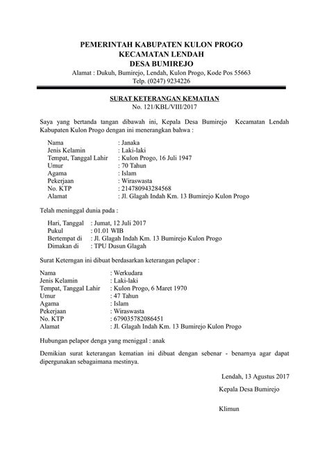 format surat download contoh surat kematian dari kelurahan