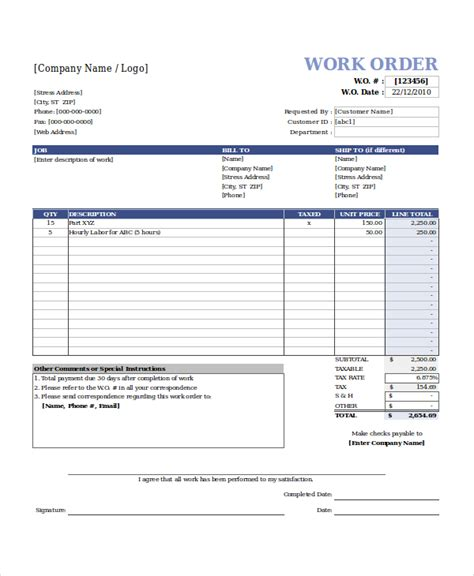 work order form template free excel work order template rabitah net