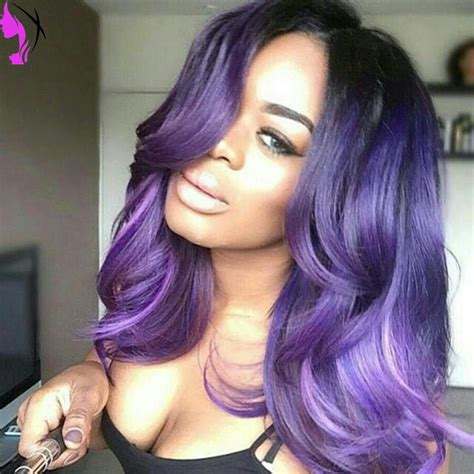 black women hairstyles sewing color purple hotselling beautiful wavy ombre synthetic hair lace front