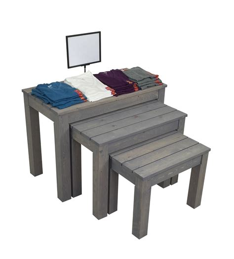 Retail Nesting Tables by Wooden Nesting Tables Clothing Apparel Display