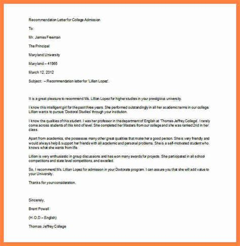 Letter Of Recommendation For College Admission Exles 5 Letter Of Recommendation For Admission To College Insurance Letter