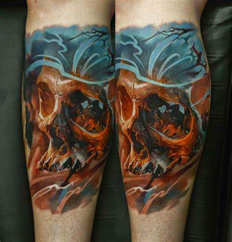 tattoo new school style new school style colored leg tattoo of little human skull