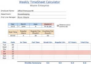 Excel Timesheet Template For Employees by Free Employee Timesheet Calculator Template In Excel