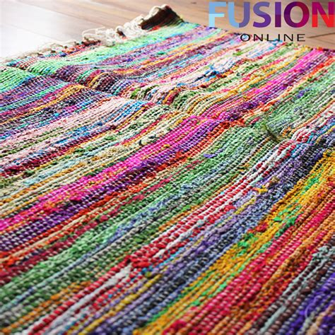 Handmade Mats - 100 cotton handmade multi colour chindi rug area rag rugs