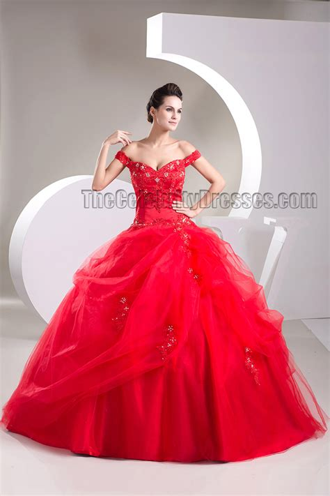Ball Gown Red Off the Shoulder Beaded Lace Up Pageant Formal Dress   TheCelebrityDresses