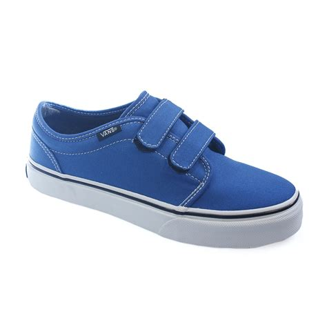 velcro shoes vans 106 blue white canvas velcro junior trainers