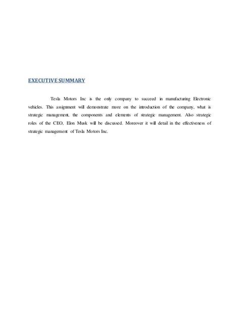 elon musk vision statement tesla strategic management