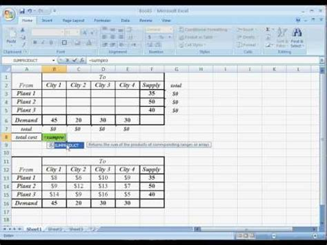 logistics excel templates or ms excel solver transportation problem