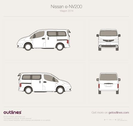 2009 Nissan E Nv200 Drawings Outlines Nissan Nv200 Template