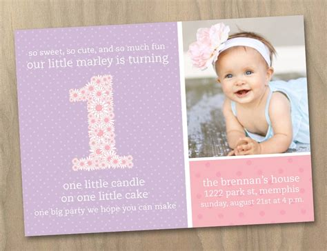 1st year birthday invitation templates baby 1st birthday photo invitation pink and