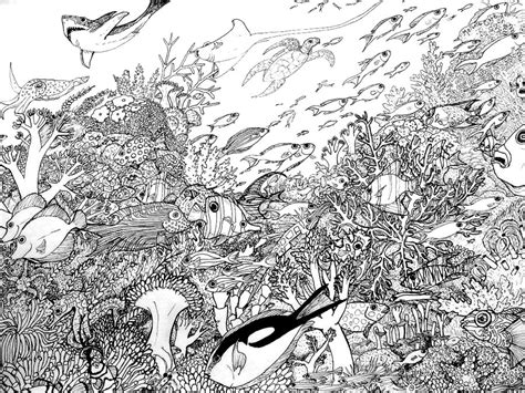 hard coloring pages ocean coral reef coloring pages bestofcoloring com