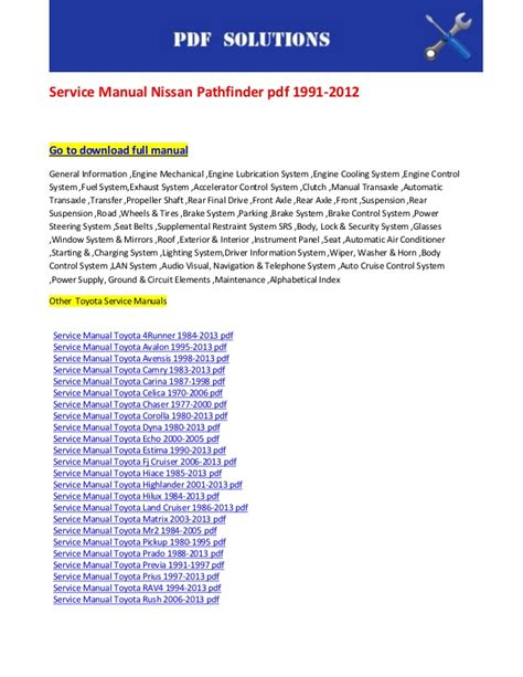 car service manuals pdf 1998 nissan pathfinder parking system service manual nissan pathfinder pdf 1991 2012