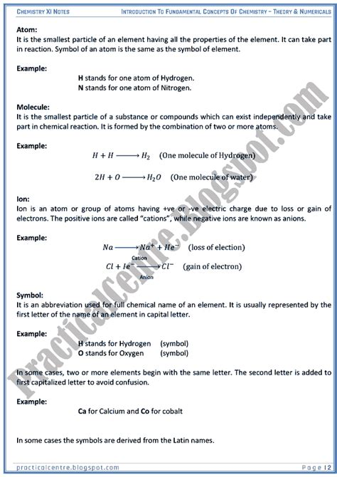 Letter Using The Concepts Of Physics Practical Centre Introduction To Fundamental Concepts Of Chemistry Theory And Numericals