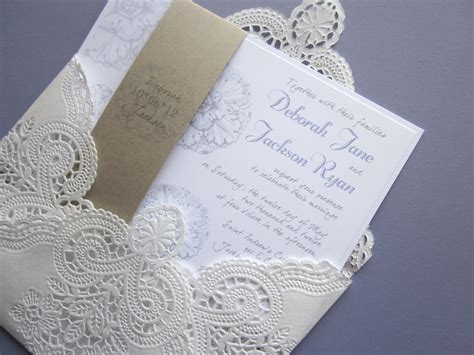 vintage wedding invitations cheap vintage wedding invitation lace doily and rustic flourish