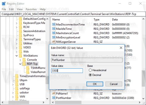 remote desktop server port change remote desktop rdp port in windows 10 winaero