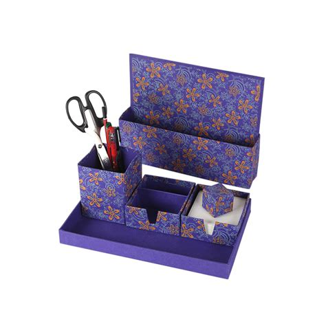Purple Desk L With Organizer by Buy Set Of 5 Rajrang Printed Handmade Paper Office