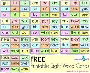 free printable sight word cards learning 4