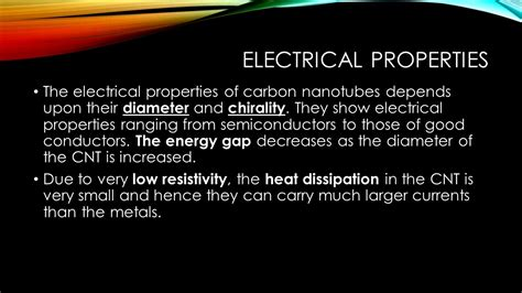 electrical properties of conductors properties of carbon nanotubes ppt