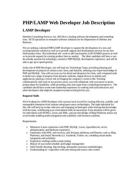 Web Developer Responsibilities by 10 Web Developer Description Templates Pdf Doc Free Premium Templates