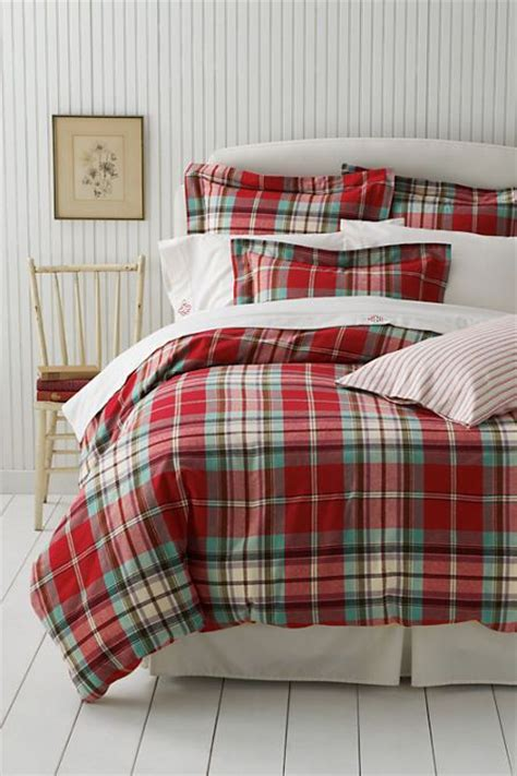 lands end bedding flannel antique plaid duvet cover or sham from lands end