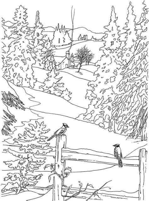 coloring pages of garden scene drawn countyside winter scenery pencil and in color