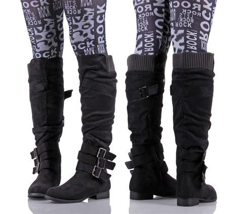 black faux suede buckle side zipper low heels knee