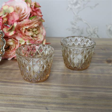 three glass votive tea antique vintage light holders by pair of antique gold vintage cut glass tealight holders