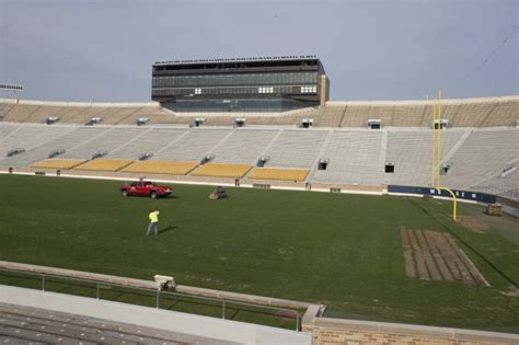 south bend tribune sports section photos notre dame stadium sod removal college