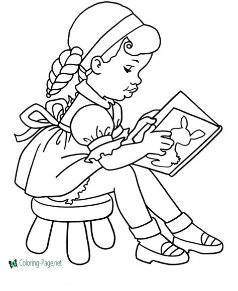 school coloring pages girls read