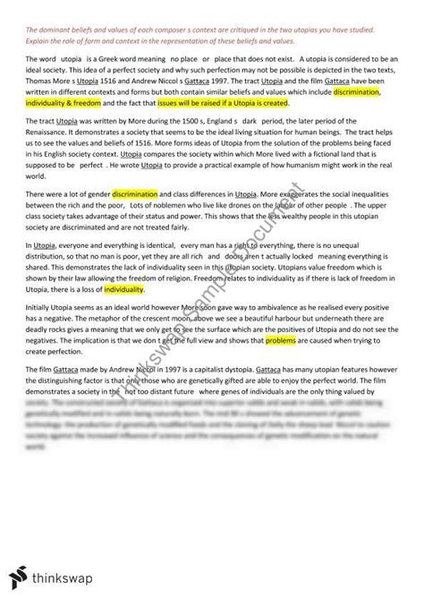 Utopia Essay by Utopia Gattaca Essay Year 11 Hsc Advanced Thinkswap