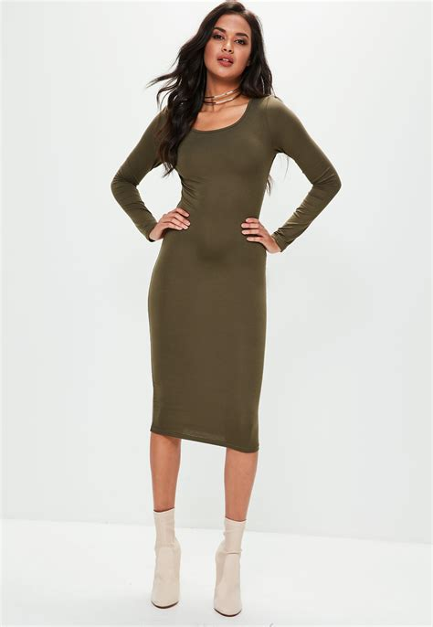 Sleeve Plain Dress missguided khaki sleeve plain midi bodycon dress in