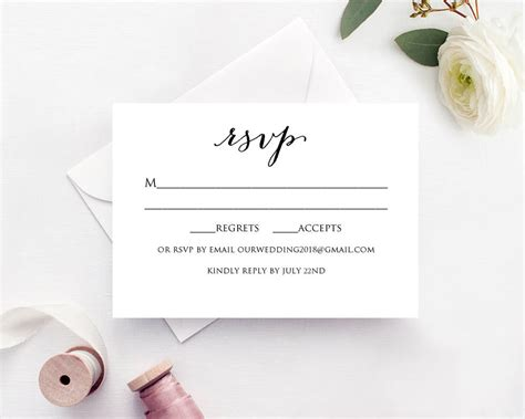 Response Card Template 4 Per Page by Wedding Rsvp Card Template Diy Wedding Templates And