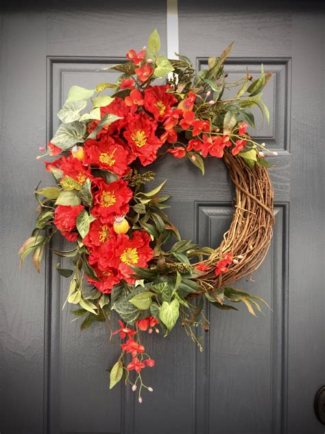 decorative wreaths for the home red spring wreath red decor red door wreaths spring